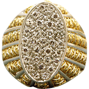 Estate 18 K Italian Pave Diamond Ring