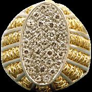 Estate 18 K Italian Pave Diamond Ring
