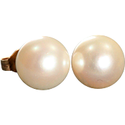 Estate 14 K  9 mm Pearl Post Earrings