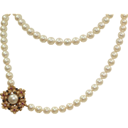 "Estate 14 K 7 mm 30"" Pearl Necklace with Sapphires and Rubies"