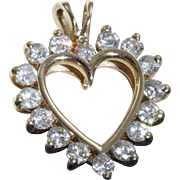 Estate 14 K 0.75 CT Diamond Heart Pendant
