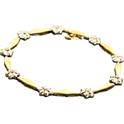 Estate 14 K Diamond Two Tone Bracelet