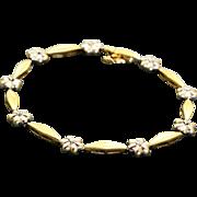 Estate 14 K Diamond Two Tone Bracelet
