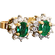 Estate 14 K Emerald and Diamond Stud Earrings