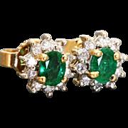 Estate 14 K Emerald and Diamond Stud Earrings