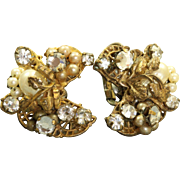 Vintage Robert Faux Pearl and Rhinestone Costume Earrings
