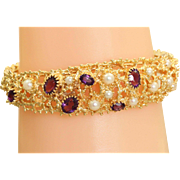 Estate 14 K Filigree Amethyst Pearl Bracelet