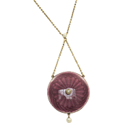 Early 20th Century 9C Guilloche Enamel and Seed Pearl Photograph Pendant