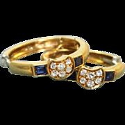 Estate 18 K Sapphire and Diamonds Hoop