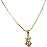 Estate 14 K 0.25 CT Diamond Pendant