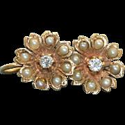 Estate 14 K  0.20 CT Diamond Split Pearl Screwback Earrings