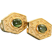 Estate 14 K 1980's Etruscan Revival Tourmaline Earrings