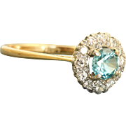 Estate 18 K Diamond and Blue Zircon Ring