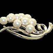 Estate 14 KW Mikimoto AAA Pearl Brooch