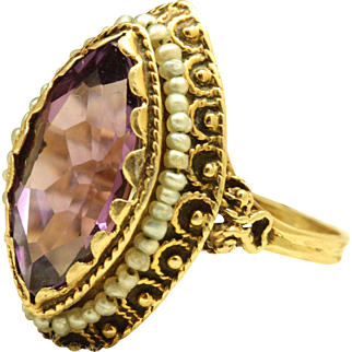 Estate 14 K Marquise Amethyst and Seed Pearl Ring