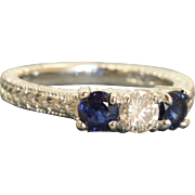 Estate Platinum 1 CT Three Stone Diamond and Sapphire Ring