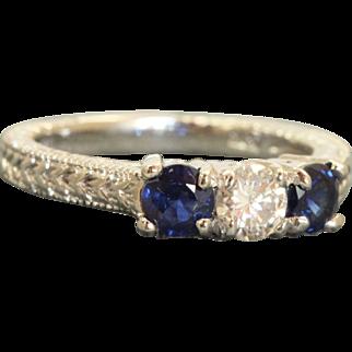 Estate Platinum 1 CT Three Stone Diamond and Sapphire Ring