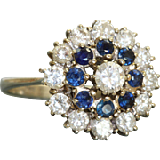 Estate 18 KW Diamond and Sapphire Cluster Ring
