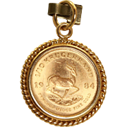 Estate 1/10 OZ Krugerrand Pendant 1984