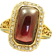 Estate 15 CT Rhodolite Garnet and Diamond Ring