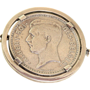 1934 Albert Roi des Belges 20 Franc Belgium Coin Brooch