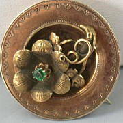 Victorian 14K Gold and Emerald Brooch