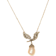 Vintage 14 K Barouque Pearl and Diamond Acorn Necklace