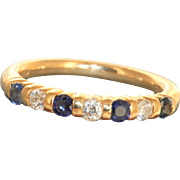 Estate 18 K Diamond and Sapphire Eternity Band