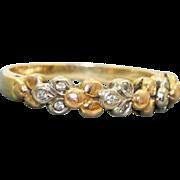 Estate 18 K Tri-Color Gold Diamond Foliate Ring