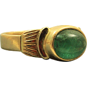 Estate 18 K Emerald Cabochon Etruscan Revival Ring