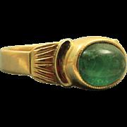 Estate 18 K Emerald Cabochon Etruscan Revival Ring