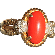 Estate 18 K Mediterranean Coral Diamond Ring