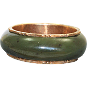 Estate 14 K Spinach Jade Bamboo Eternity Band