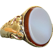 Estate 18 K Chalcedony Signet Ring