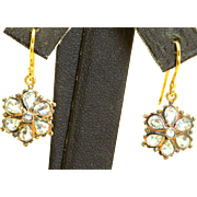 Estate 14 K Topaz Floral Dangle Earrings