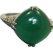 10 K Chrysoprase Filigree Ring