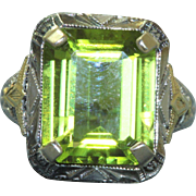 Estate 10 K Two Toned Filigree Ring with 5 CT Peridot
