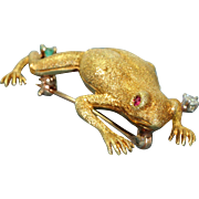 Estate 18 K Frog Pin