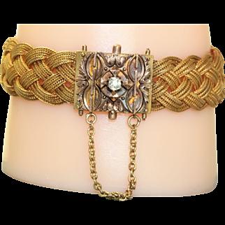 Estate 14 K Victorian Braided Diamond Bracelet