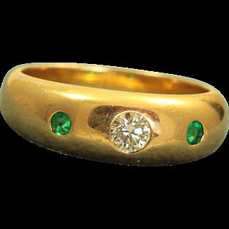 Estate 20 K Diamond and Emerald Gypsy Ring