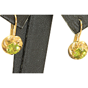 Estate 14 K 1.5 CT Peridot Earrings