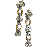 Estate 18 K Two Tone Diamond Dangle Earrings
