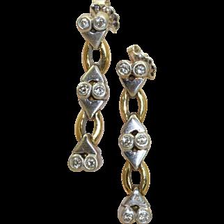 Estate 18 K Two Tone Diamond Dangle Earrings