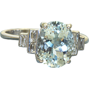Estate 18 K Deco Aquamarine and Diamond Ring