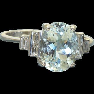Estate 18 K Deco Aquamarine and Diamond Ring