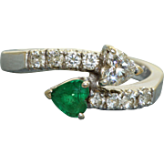 Estate 18 K Emerald and Diamond Cross Over Ring