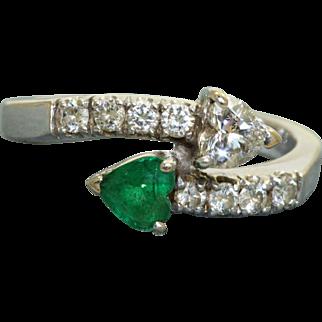 Estate 18 K Emerald and Diamond Cross Over Ring