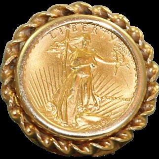 Estate 1987 $5 US  Gold Eagle Coin Ring