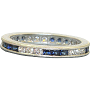 Estate Platinum Diamond and Sapphire Eternity Band