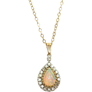 Estate 14 K 1.25 CT Opal and Diamond Pendant